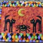 Sizzix scary cats mug rug