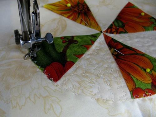 Closeup of free motion stitching - conniekresin.com