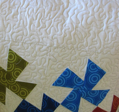 closeup of quilting on lil twister pillow