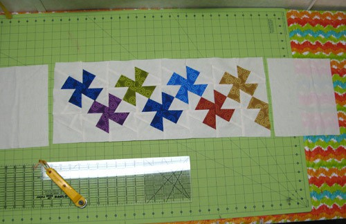 Laying out the quilt band