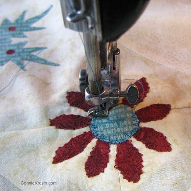 Winter Snowflake Closeup Freemotion stiching darning foot