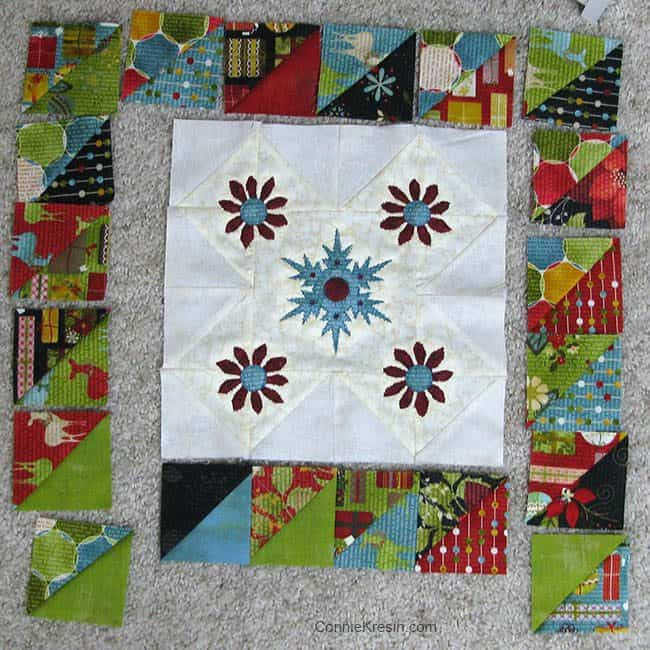 Winter Snowflake Table topper piecing