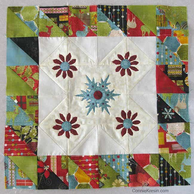 Winter Snowflake Tabletopper piecing done