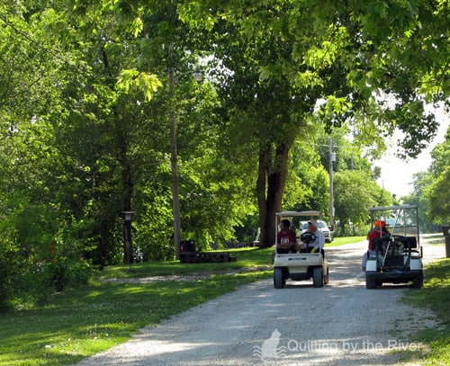 Golf cart traffic jam