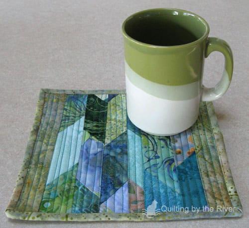 Batik Mug Rug from scraps