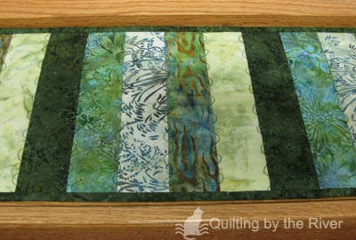 Green Batik table runner