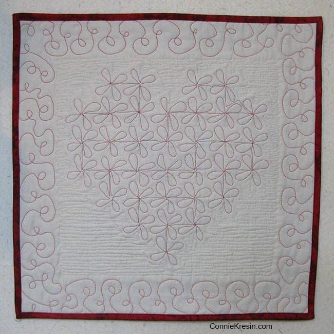 Twisting Heart Valentine Tutorial back quilting