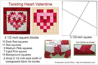 4 x 6 reference card of free quilt pattern