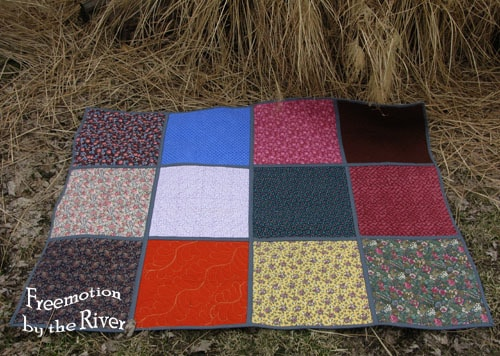 Back of QAYG quilt at Freemotion by the River