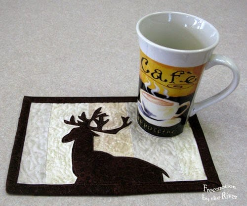 Log Cabin Deer mug rug at Freemotion by the River