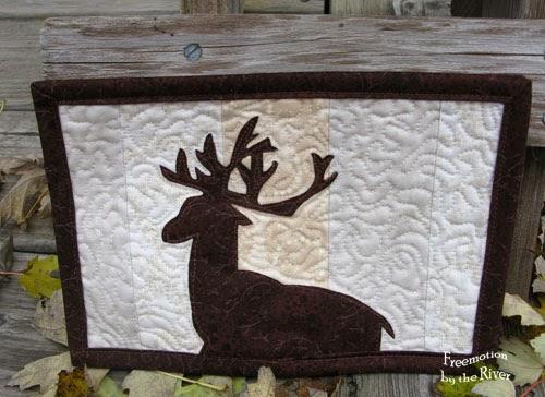 Log Cabin Deer mug rug giveaway at Freemotion by the River