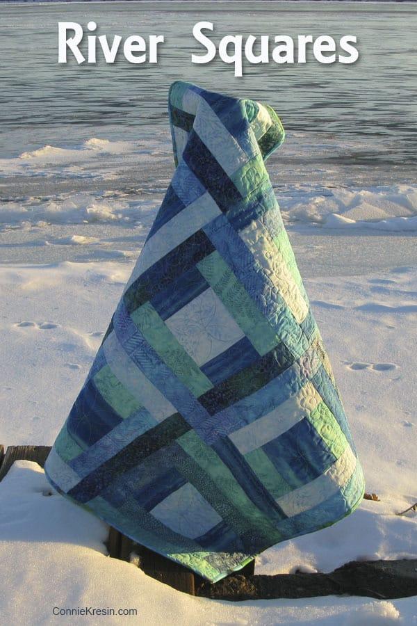 River Squares Quilt Pattern Blue