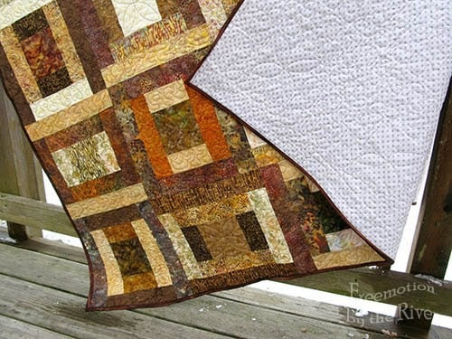 River Squares Quilt Pattern in Browns