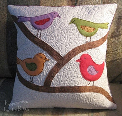 Accuquilt bird pillow at Freemotion by the River