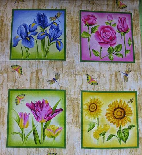 4 different floral blocks