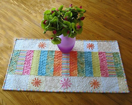 Sherbert Stripes table runner on table