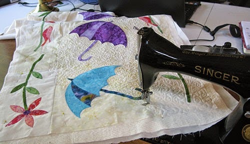 Dancing Umbrellas Batik Table Runner