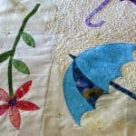 Quilting Dancing Umbrellas on my vintage sewing machine