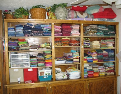My quilting stash of fabrics