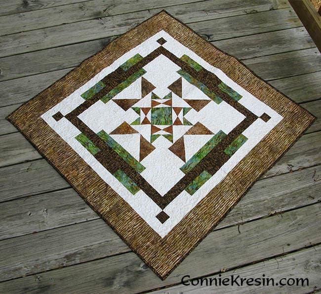 Aruba Sunset quilt pattern in browns - ConnieKresin.com