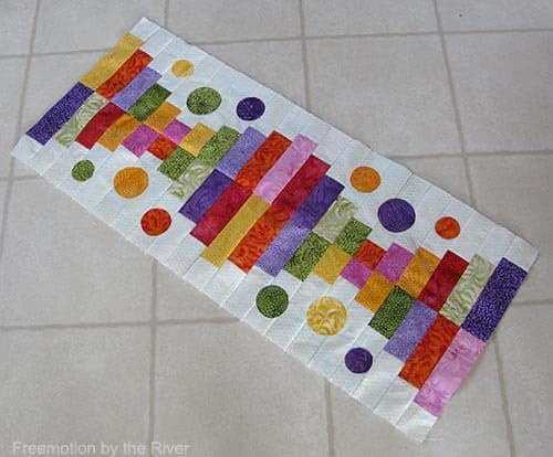 Piano Keys table runner made with Full Bloom from Island Batik