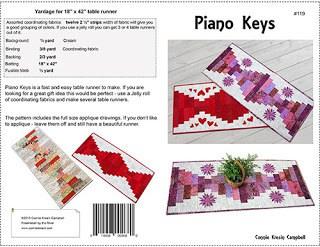Piano Keys table runner pattern