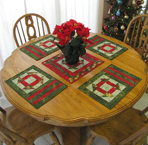 Churn Dash place mats and centerpiece free tutorial