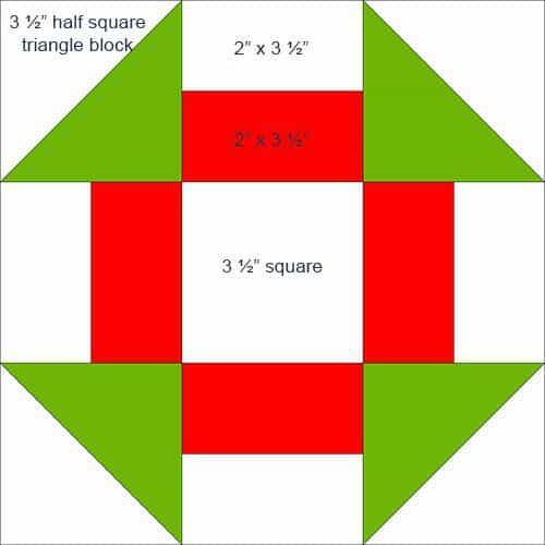 9 inch Churn Dash quilt block diagram