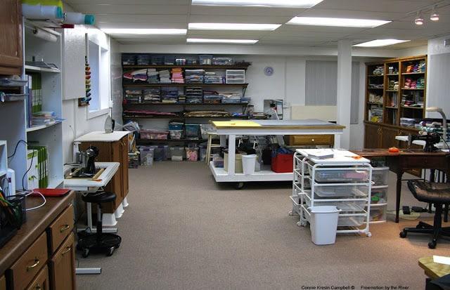 DIY Ironing Board Station in quilt studio