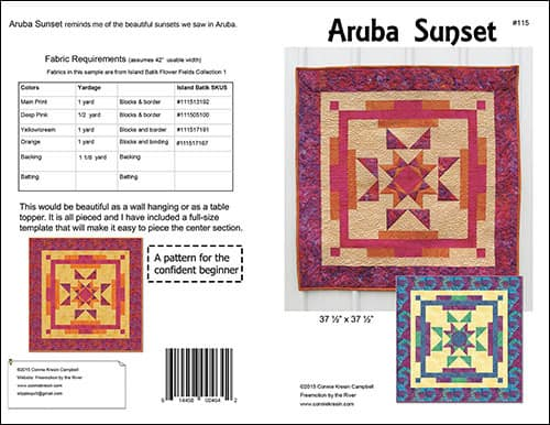 Aruba Sunset quilt pattern by Connie Kresin Campbell