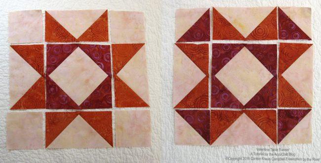 Piecing the batik quilt blocks