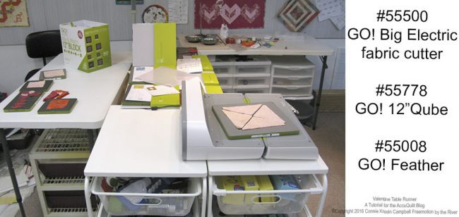AccuQuilt Qube and cutter in my studio
