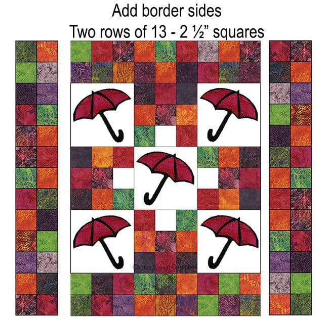 Add the side borders to th Batik Umbrella Quilt