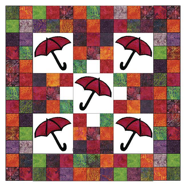 Batik umbrella applique quilt tutorial at Freemotion by the River