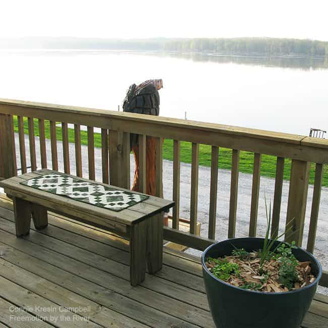 Table runner on the deck with eagle