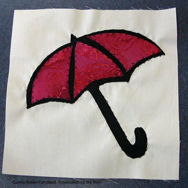 finished applique umbrella block