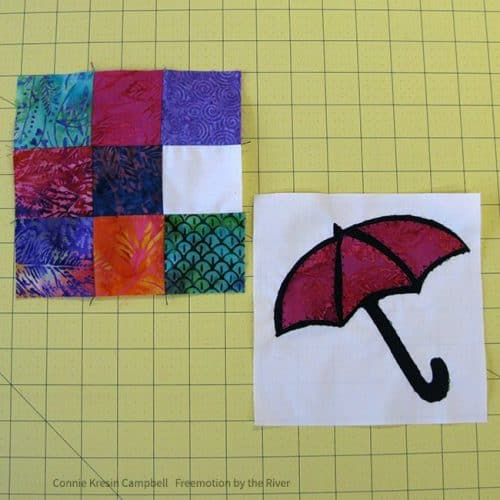 Finish the two different blocks for the umbrella quilt