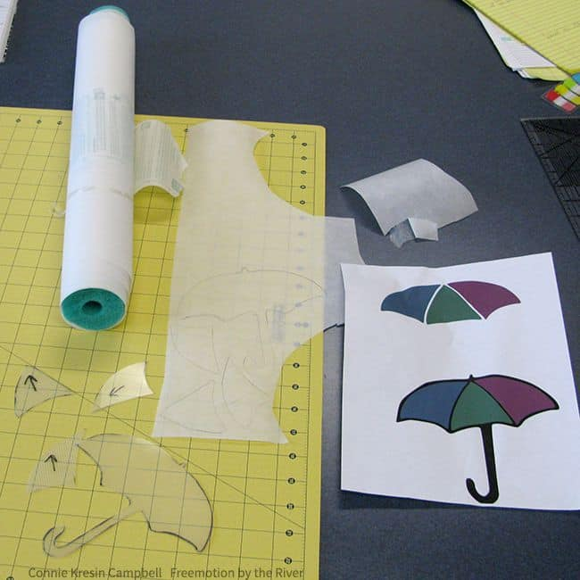 Pellon Wonder Under and Umbrella template