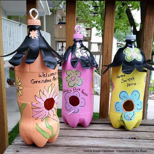 Birdhouses made from plastic bottles