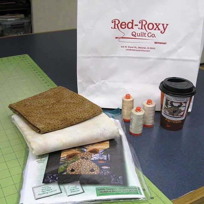 Red Roxy Quilt Co Aurifil thread and Island Batik fabrics