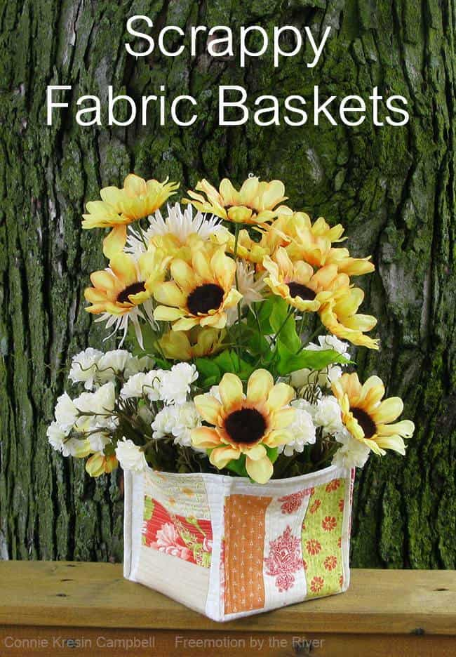 Scrappy Strip fabric basket tutorial