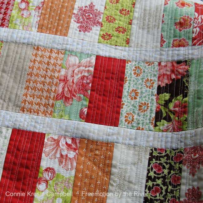 Organic free motion quilted fabric