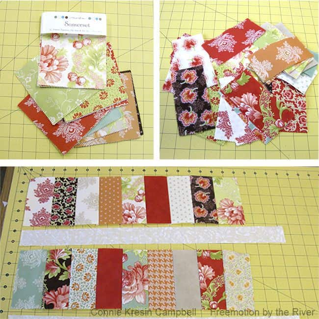 Somerset charm squares and a strippy basket tutorial