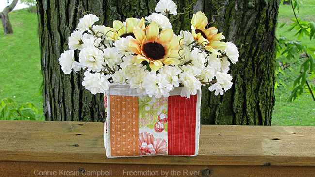 Scrappy Strippy fabric basket with flowers