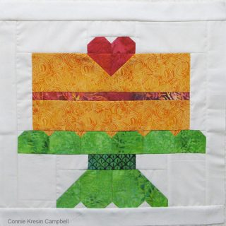 Birthday Cake batik quilt block