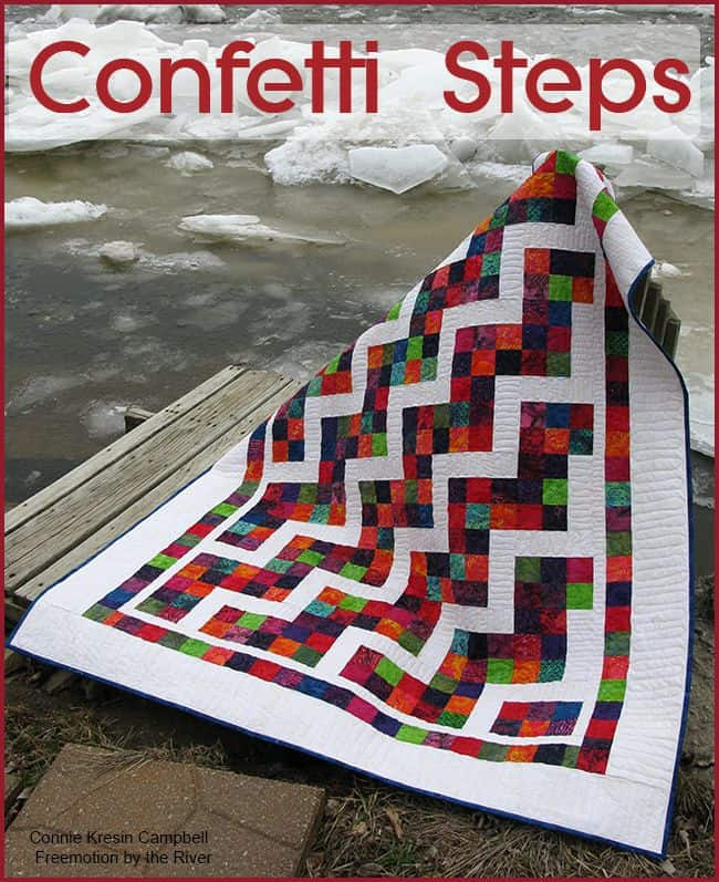 Confetti Steps Quilt by the Icy river