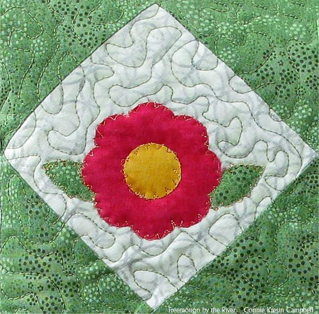 Free motion applique on the Flower Closeup