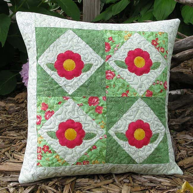 Appliqued flower pillow