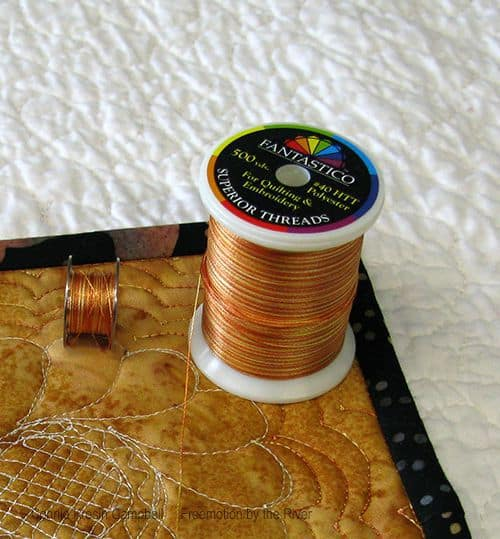 Gold Fantastico thread on a mug rug