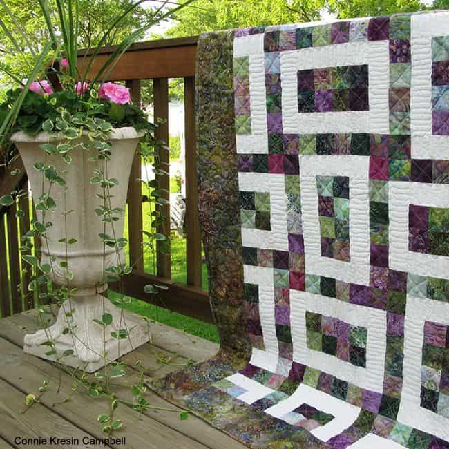 Batik Hopscotch 2 pattern and flowers on the deck
